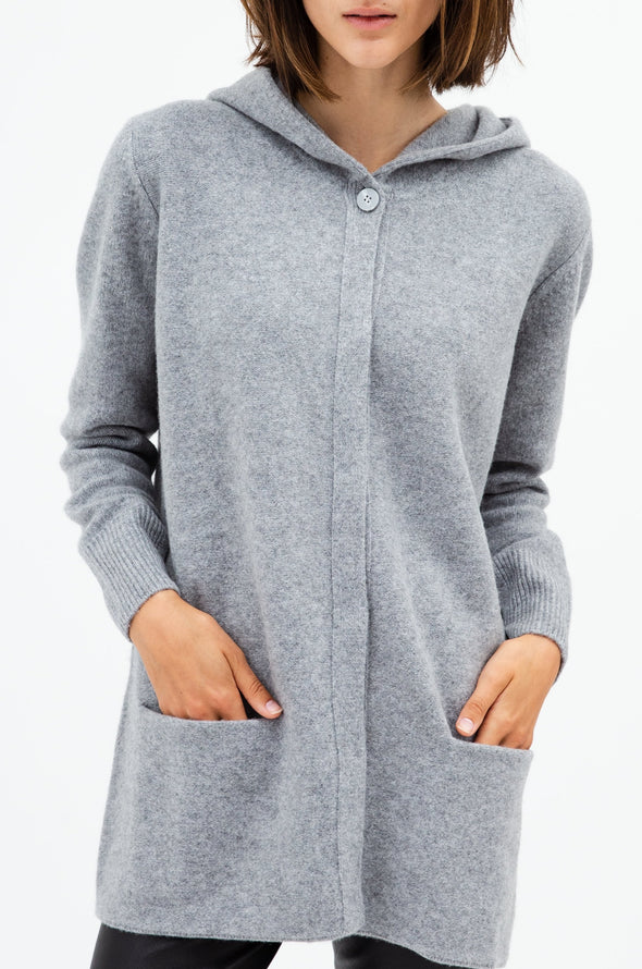 LONG CARDIGAN HOODIE IN ETRAFINE MERINO-YAK CASHMERE