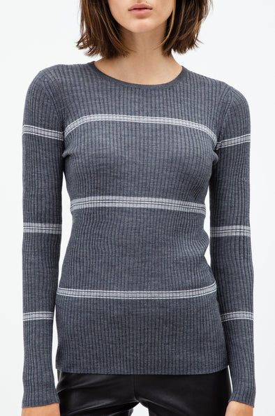 RIBBED CREW IN FINE MERINO