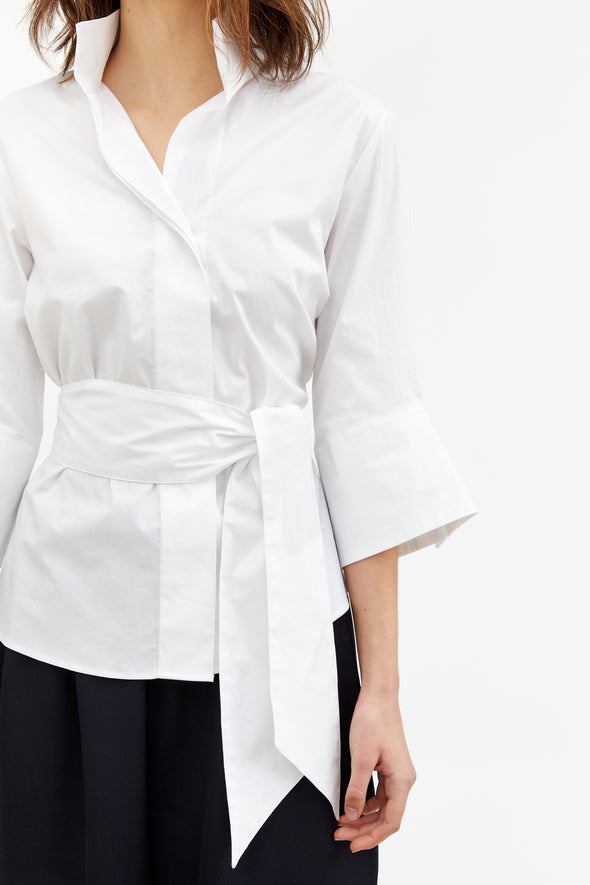 MANDARINA SHIRT IN ITALIAN STRETCH COTTON POPLIN