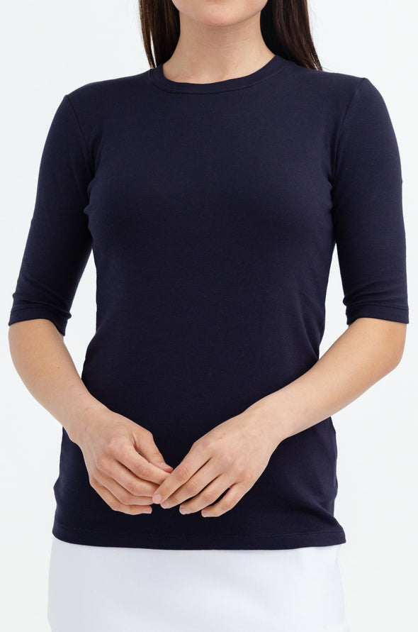 ELBOW SLEEVE CREW IN PIMA COTTON STRETCH