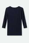 THREE-QUARTER SLEEVE BATEAU IN PIMA COTTON STRETCH