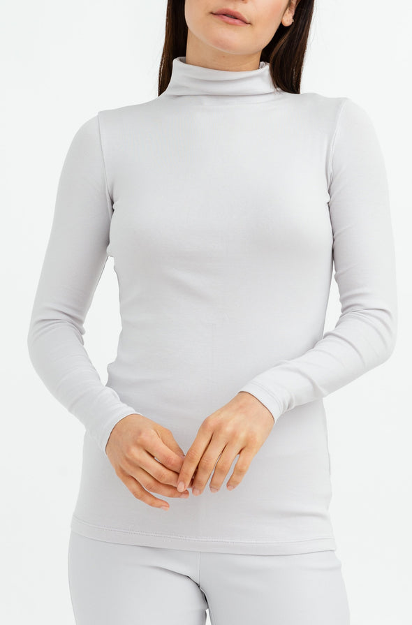 LONG SLEEVE HIGH NECK IN PIMA COTTON STRETCH