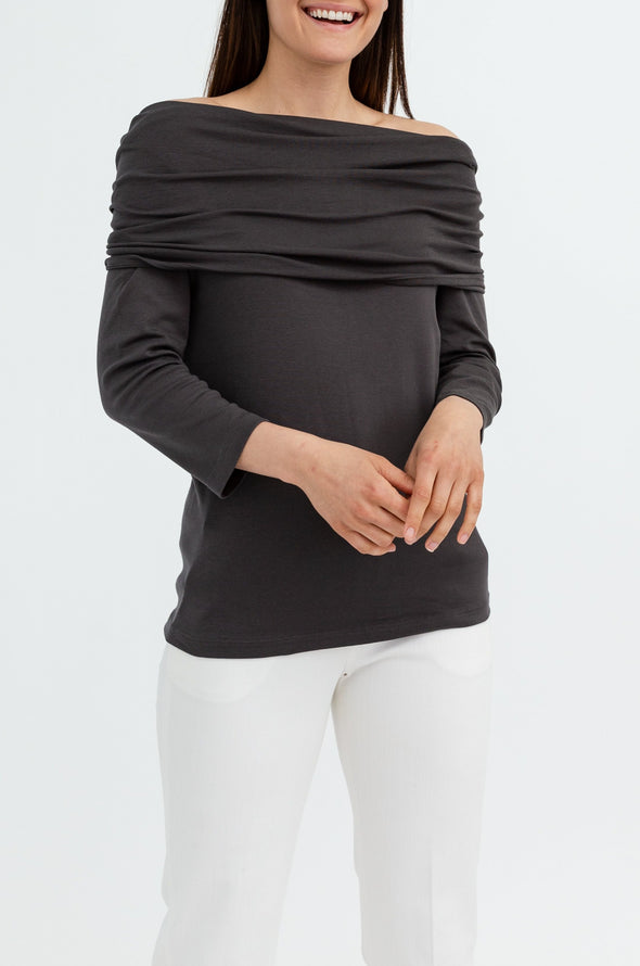 THREE-QUARTER SLEEVE COWL NECK IN PIMA COTTON STRETCH