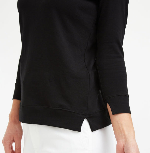 THREE-QUARTER SLEEVE BOX TOP IN PIMA COTTON STRETCH