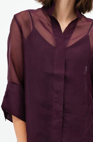 Belted Organza Blouse