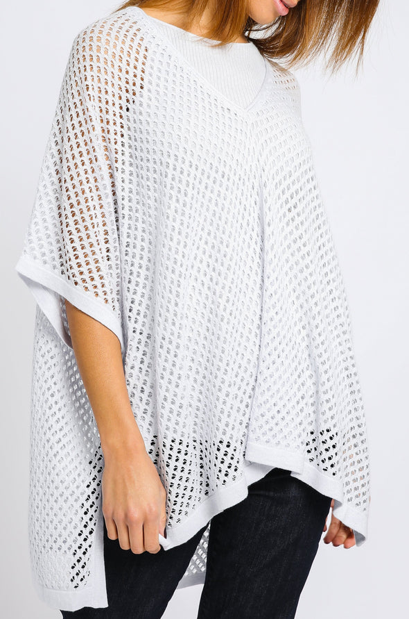 MESH PONCHO IN COTTON-CASHMERE KNIT