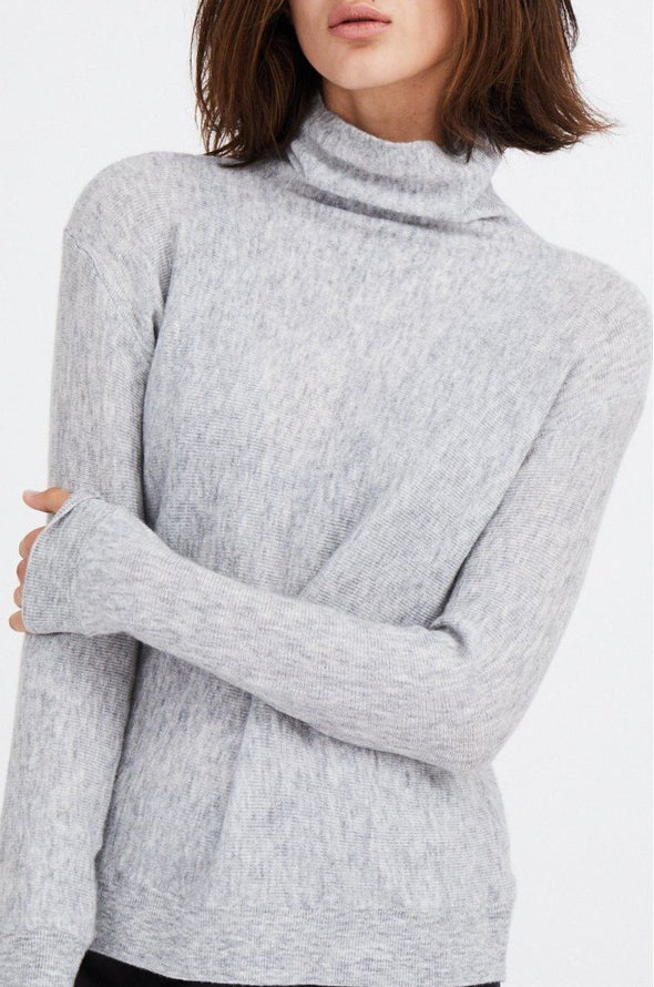 RIBBED HIGH NECK IN MERINO-CASHMERE BLENDED
