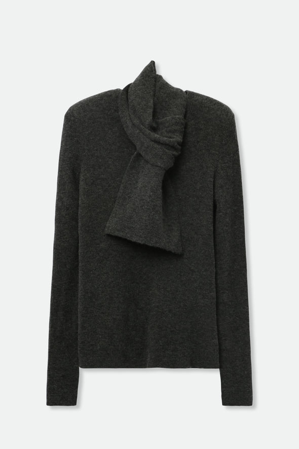 BASIC CREW WITH SCARF IN MERINO-CASHMERE