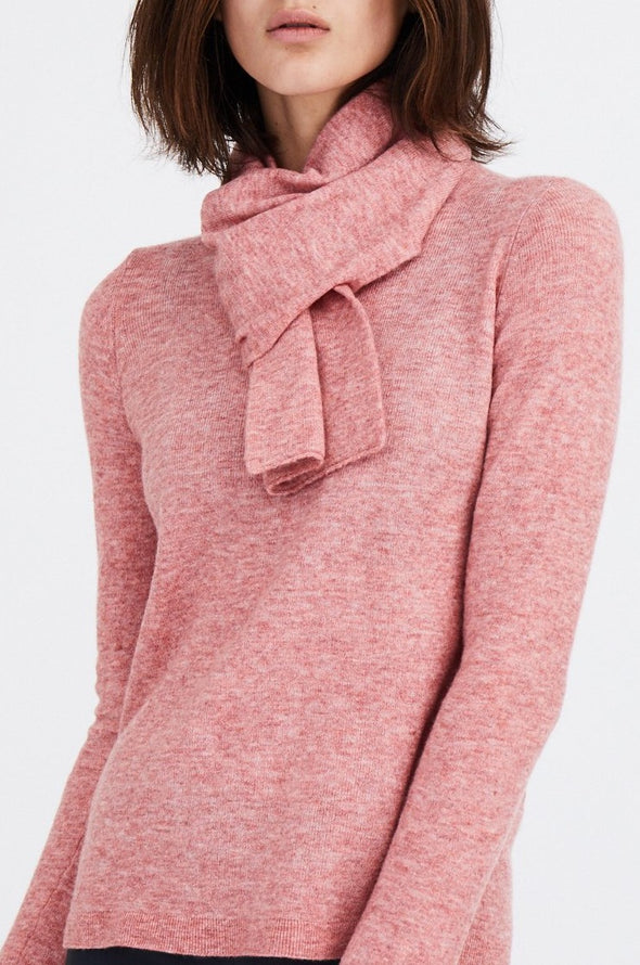 BASIC CREW WITH SCARF IN MERINO-CASHMERE BLENDED
