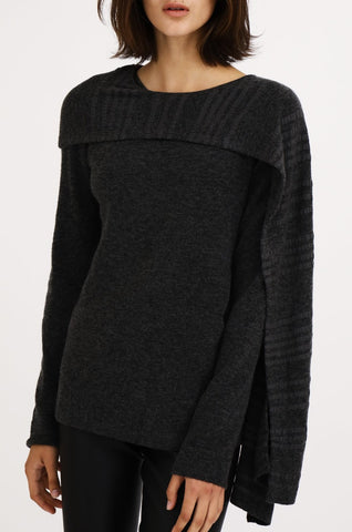 Sweater w/ Striped Asymmetrical Scarf
