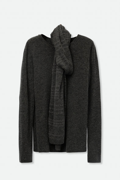 SWEATER WITH STRIPED ASYMMETRICAL SCARF IN MERINO-CASHMERE