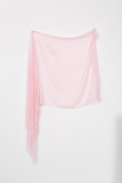 PINK LARGE CHECK SCARF IN CASHMERE