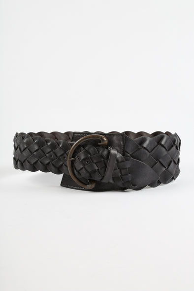 LARGE WOVEN BELT IN LEATHER