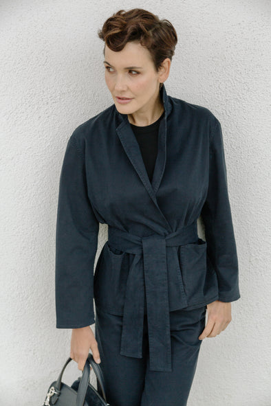 ODETTE JACKET IN ITALIAN BRUSHED COTTON SATEEN