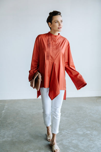 PLEATED BLOUSE IN ITALIAN COTTON
