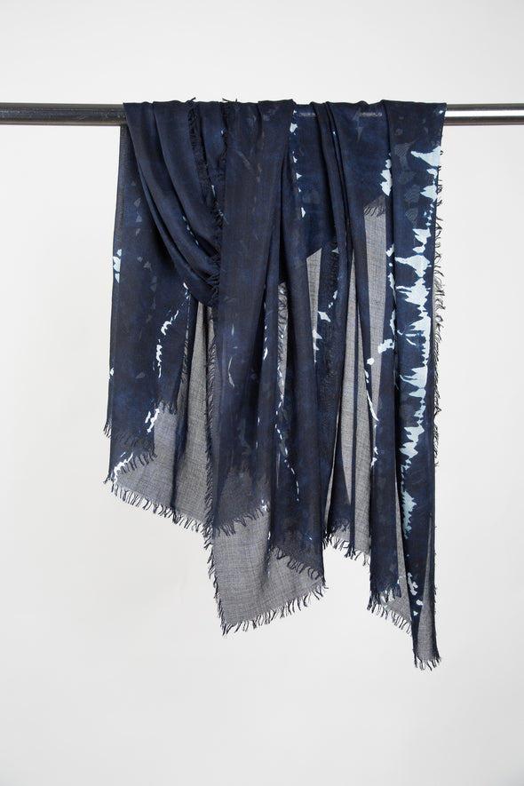 SEV HAND PAINTED STOLE CASHMERE-SILK