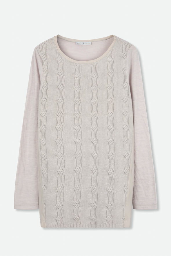 WHYCI MILANO CABLE KNIT SWEATER
