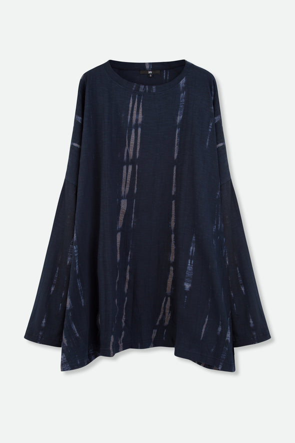 KARO TOP IN SHIBORI-DYED SLUB COTTON