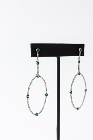Emerald Drop Hoop