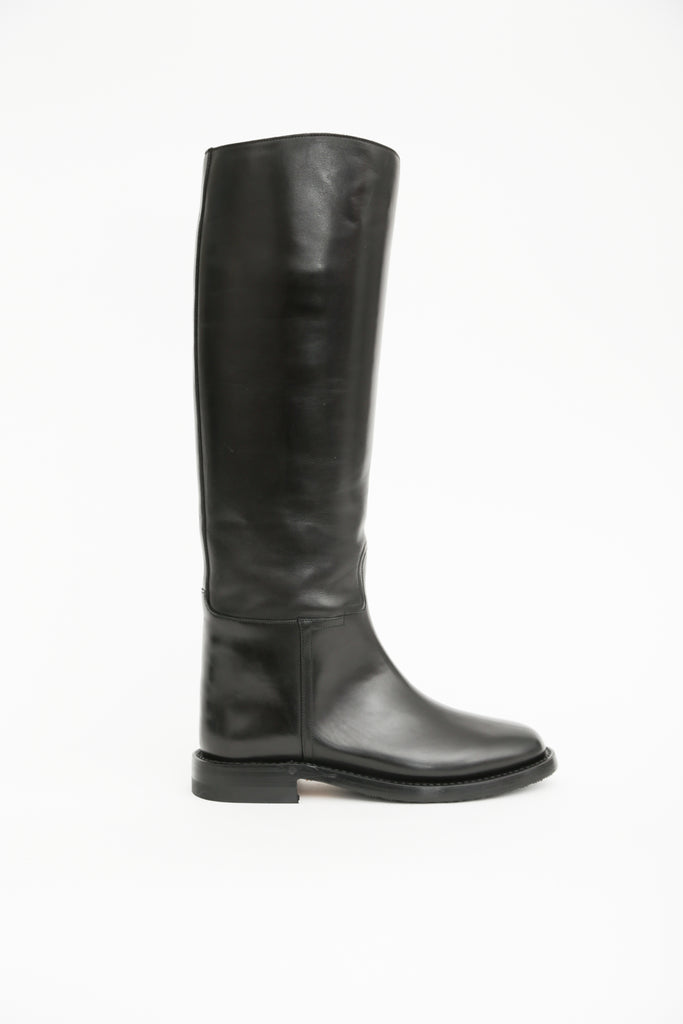 Italian Leather Pull On Riding Boots