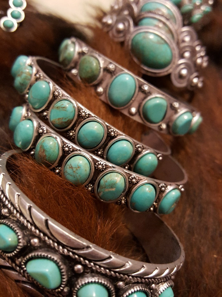 FAUX TURQUOISE & SILVER BANGLE BRACELETS - YOUR CHOICE - BANGLE BAR!