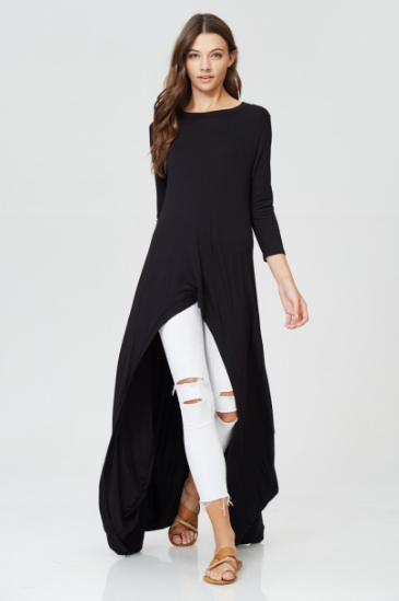 Black Full Length Knit Hi-Lo Dress