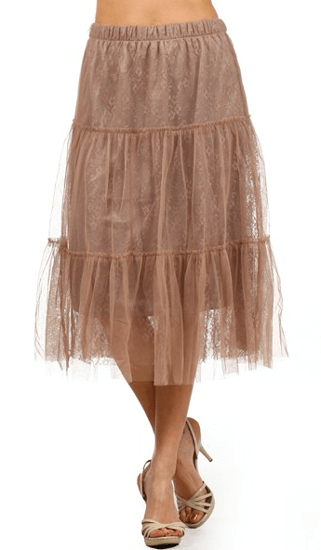MOCHA TULLE LAYERED RUFFLE SKIRT