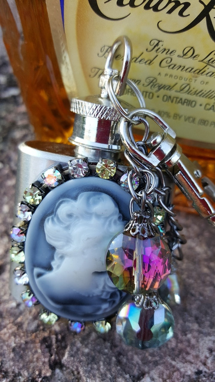 BOOTLEG BY SHE IS WHISKEY GUSSIED UP MINI FLASK KEYCHAINS