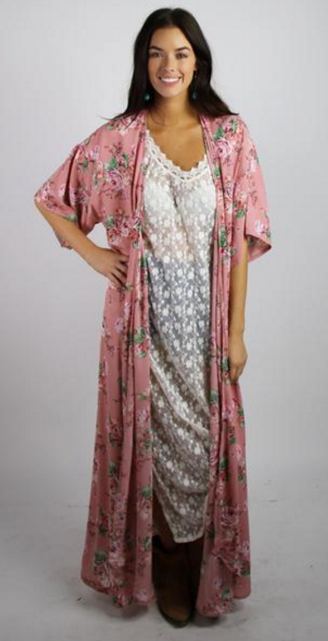 MAUVE FLORAL FULL LENGTH DUSTER