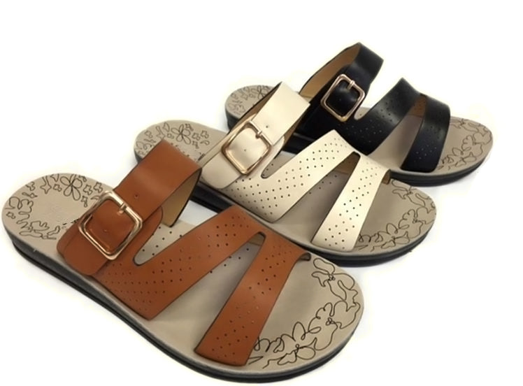 Wholesale Women's Shoes Flat Triple Strap Open Toe Carla Sandals NCPD2