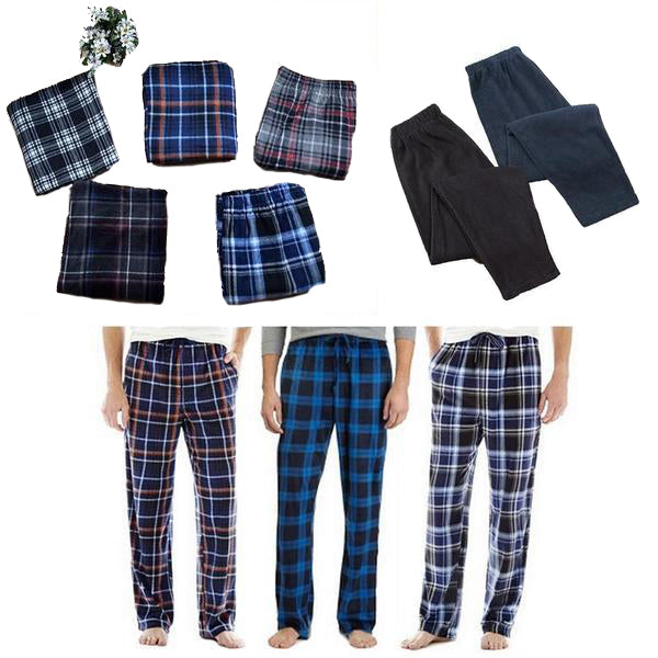 Closeout Fleece Plaid or solid Assorted Styles Pajamas Lounge Pants N6-SP1871-RAM