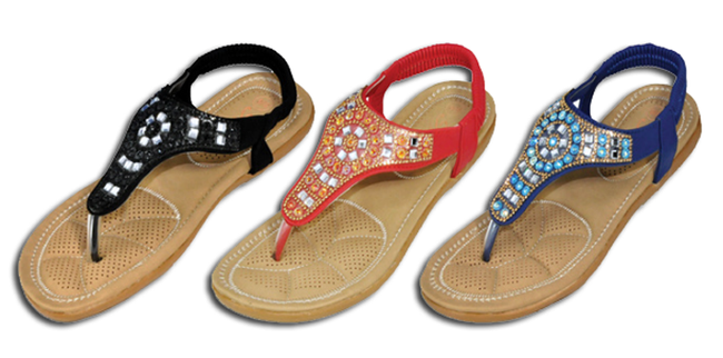 Wholesale Women's Assorted Sandals Thong Embellished Ankle Strap Flat Egypt NSU29