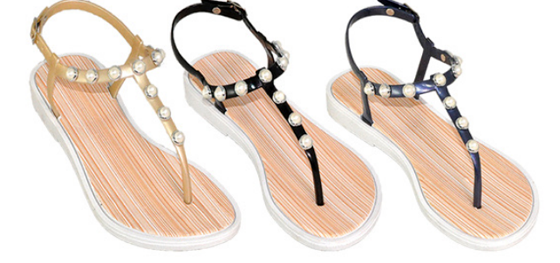 Wholesale Women's Sandals Pearl Embellished Sling Back Thong Flat Sandals NSU023