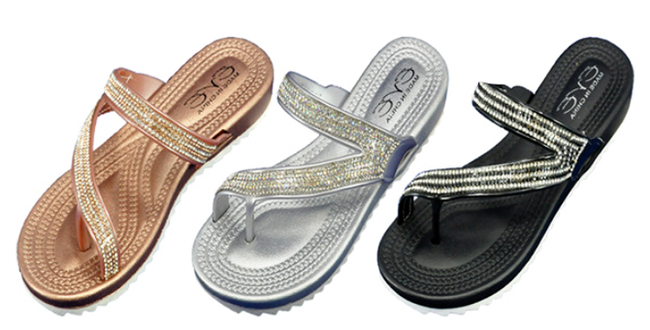 Wholesale Women's Shoes Assorted Flat Bling Sandals Gracelyn NSU24