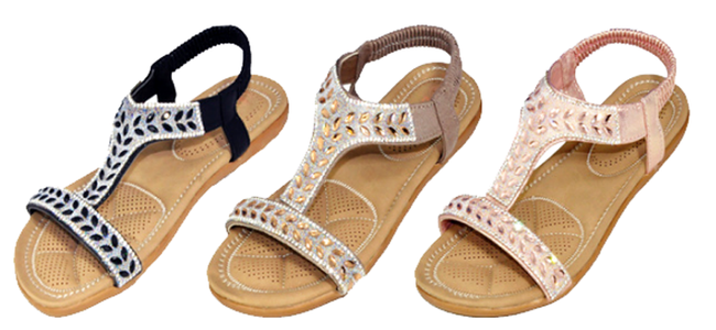 Wholesale Women's Assorted Sandals Thong Embellished Ankle Strap Flat Joyce NSU27