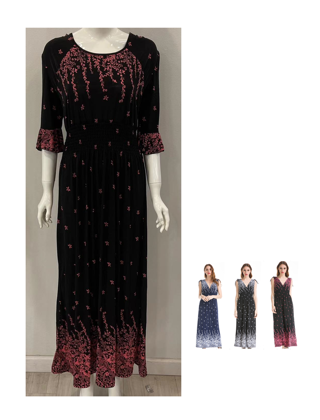 Wholesale Clothing Dresses 3/4 FALLING FLORAL DTY MAXI 36/CASE S-XL NWM27