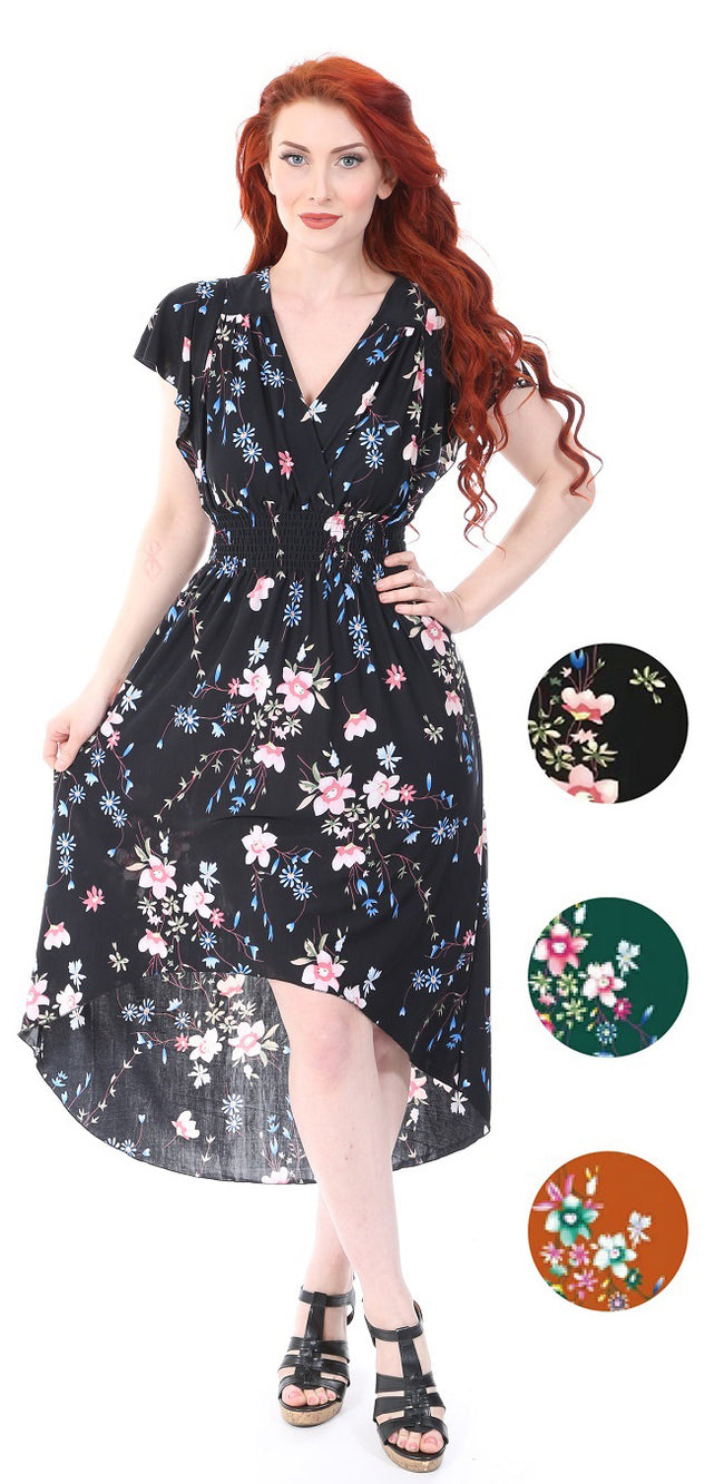 Wholesale Clothing Dresses Maxi Dress S/S Surplus Front High Low - Floral Print 6/36/Case S-XL NWM32