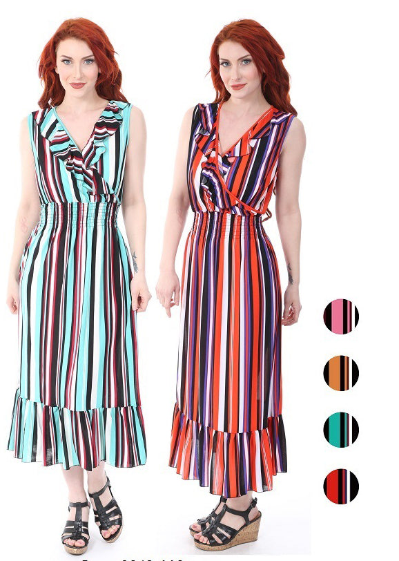 Wholesale Clothing Dresses Maxi Dress Surplus Ruffle Neck Smocking Back- Stripe 6/48/Case S-XL NWM19