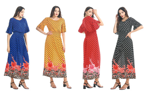 Wholesale Clothing Dresses Rayon Printed BK/WT Round Neck Dress O/S 48/Case NWG96