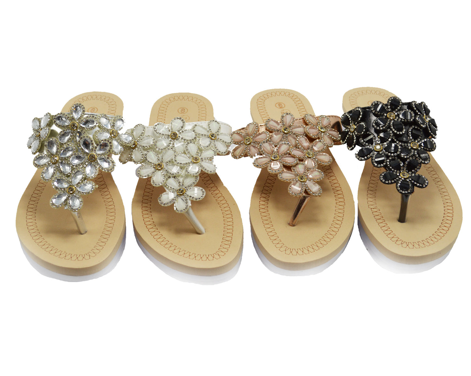 Wholesale Women's Shoes Flat Open Toe Flower Embellished Alice Sandals NG51