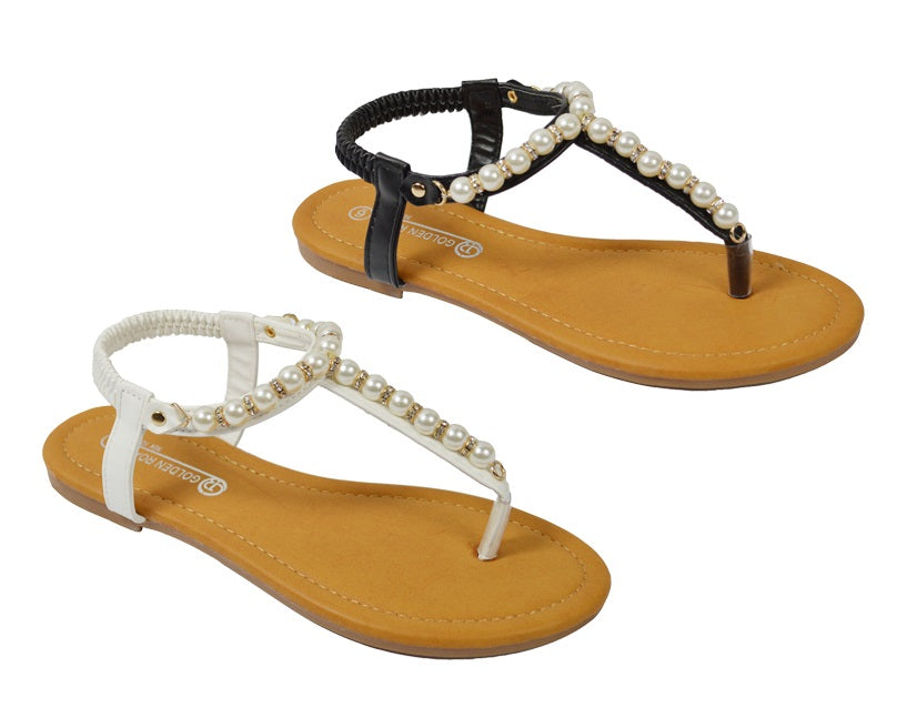 Wholesale Women's Shoes Flip Flops Pearl Strap Sling Back NG59
