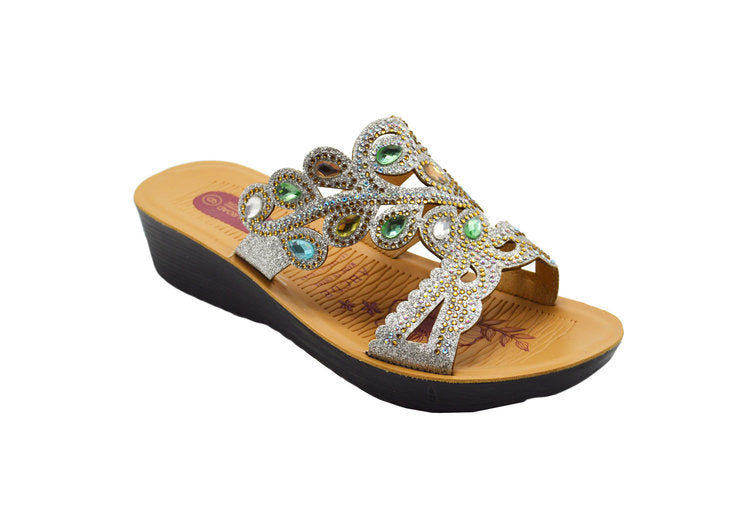 Wholesale Women's Sandals Heels Open Back Open Toe Crown Strap Embellished Rhinestone Melody NG88