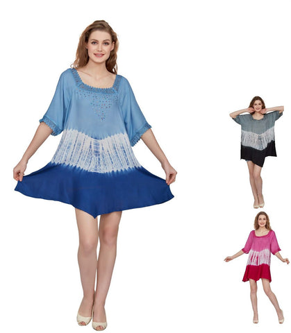 Wholesale Clothing Dresses Rayon Plus Size SS Tops Hombrey Dye Embd.36/Case (1X-3X)FX,OL,GY NWH06