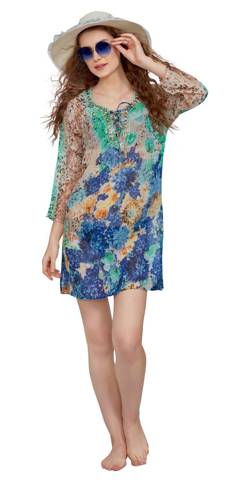 Wholesale Clothing Dresses Printed Georgette Sleeve Tunic 72/Case (S-XL) NWH10