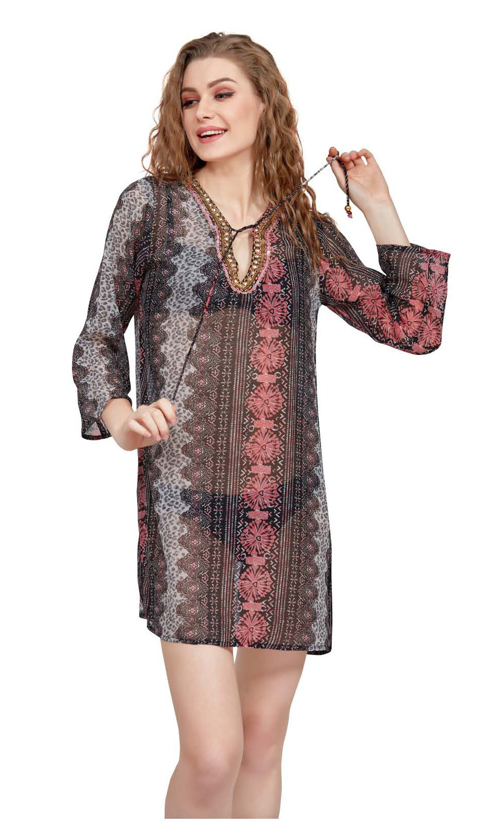 Wholesale Clothing Dresses Printed Georgette Sleeve Tunic 72/Case (S-XL) NWH11