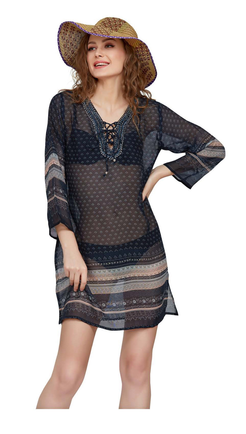 Wholesale Clothing Dresses Printed Georgette Sleeve Tunic 72/Case (S-XL) NWH15