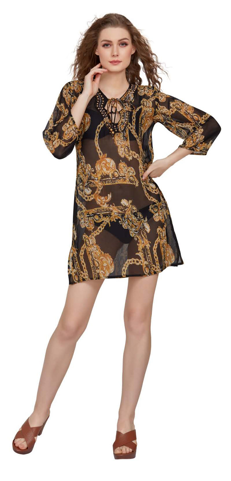 Wholesale Clothing Dresses Printed Georgette Sleeve Tunic 72/Case (S-XL) NWH16