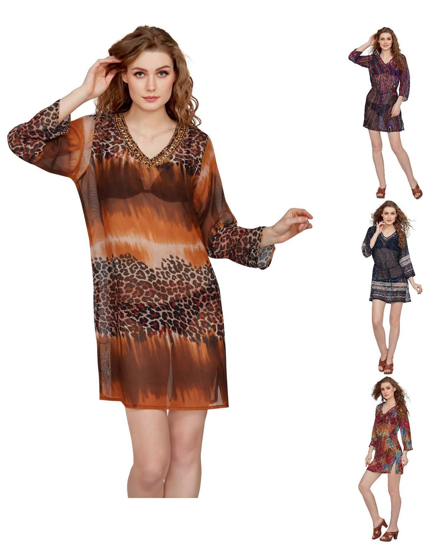 Wholesale Clothing Dresses Printed Georgette Sleeve Tunic 48/Case (S/M,L/XL) NWH17