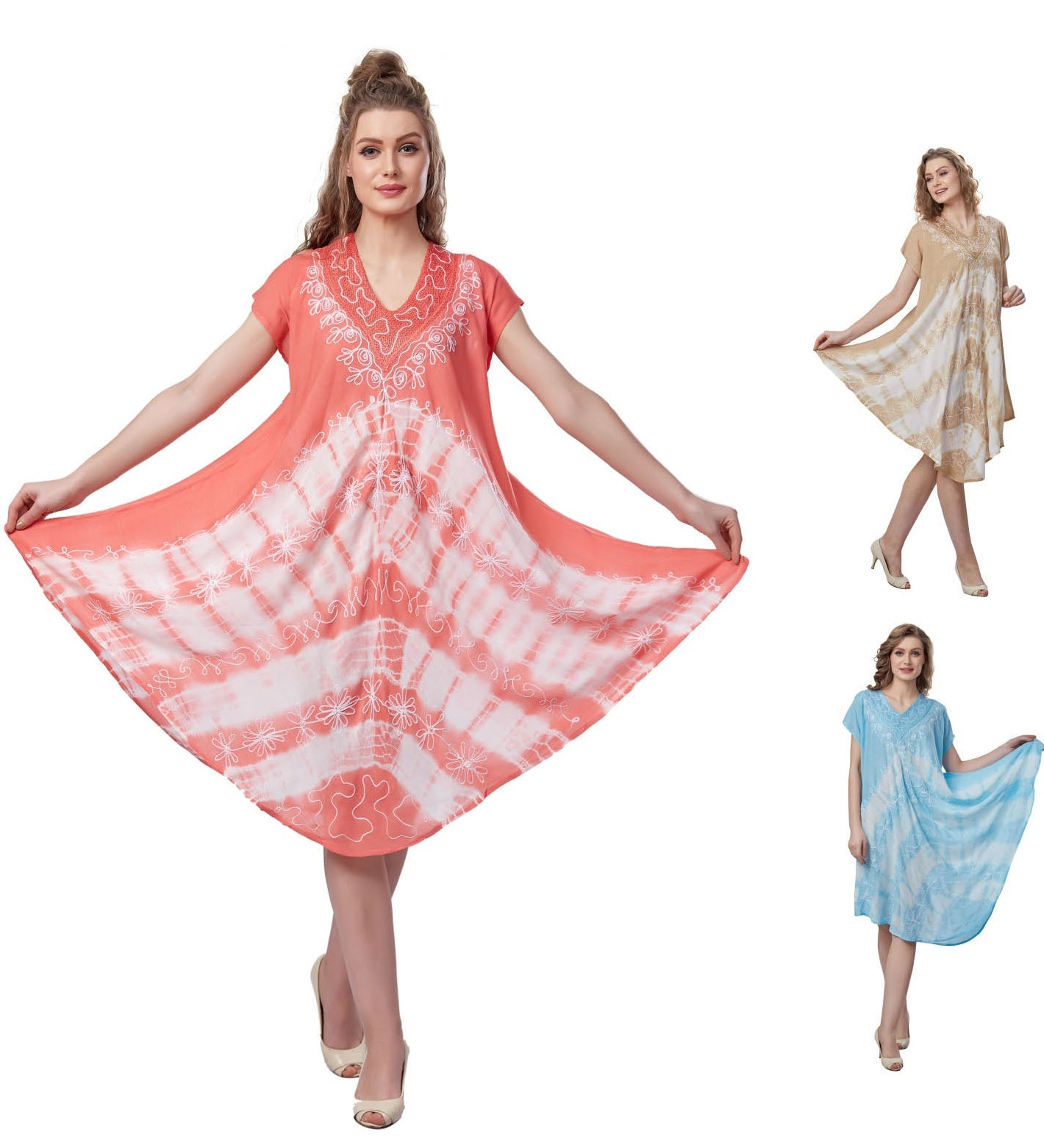 Wholesale Clothing Dresses Plus Rayon S/S Dress-Tie Dye 36/Case (1X-3X)BG,LT.BL, Coral NWH10
