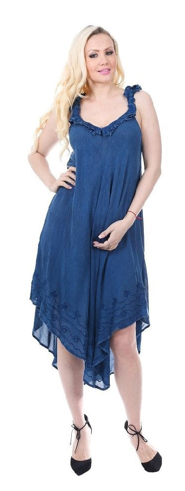 Wholesale Clothing Dresses Rayon Crepe Dress- Enzyme Wash Ruffled Sleeve and Neck 36/Case S-XL (Lt, Mid, Dk.Blue)) NWH11